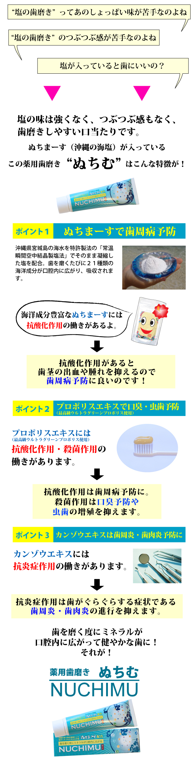 歯を磨くたびにミネラルが口腔内に広がるぬちまーすが入った薬用歯磨きぬちむ商品内容